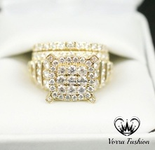 Bridal Wedding Ring Set Round Cut Sim Diamond 18k Gold Plated 925 Pure Silver - $131.89