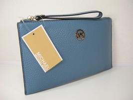 Michael Kors Logo Wristlet Purse Genuine Leather Sky Blue Gold Fulton Cl... - $98.99