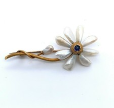 14k Yellow Gold Flower Pin Mississippi River Pearls and Sapphire (#J5132) - $594.00