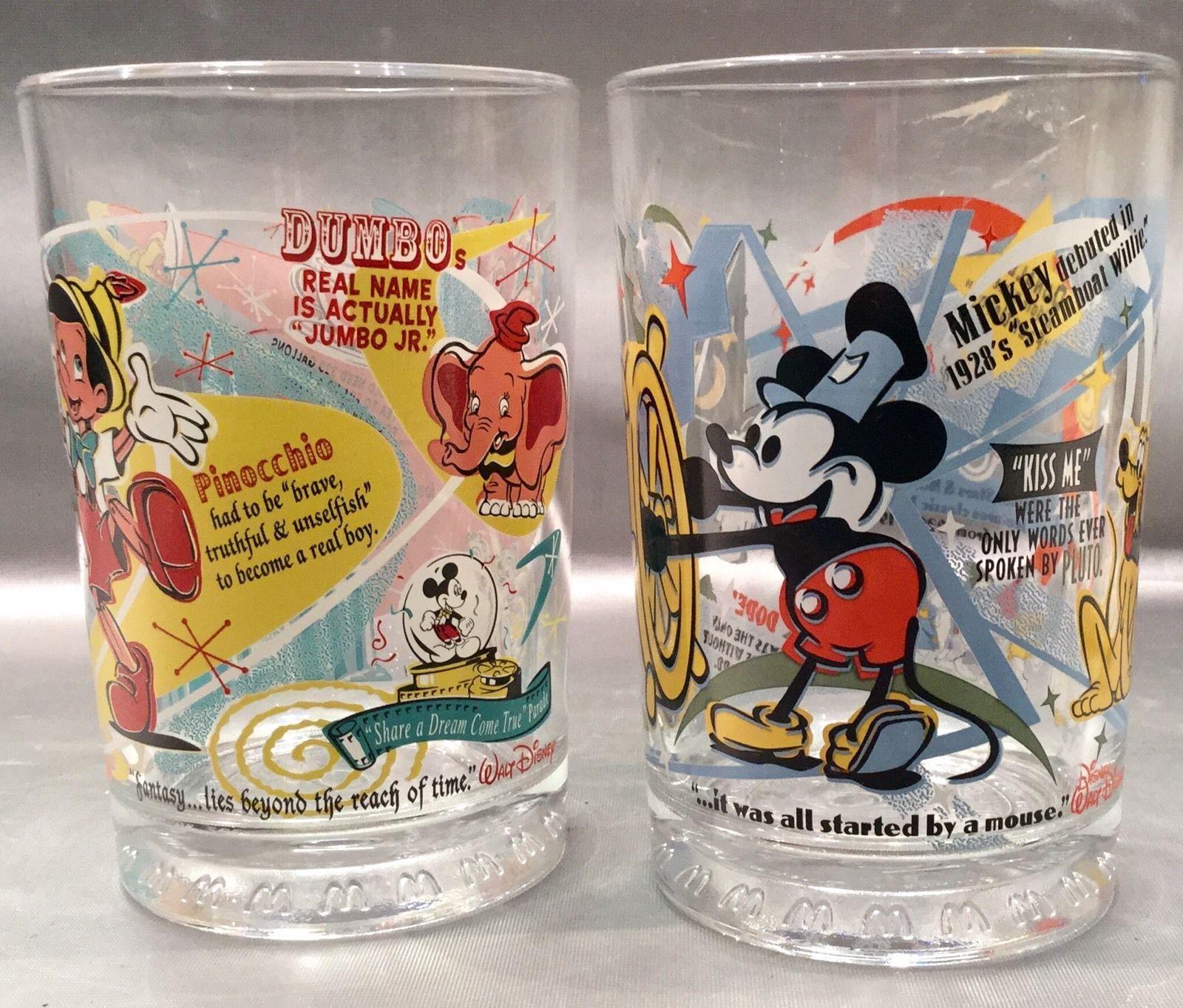 The complete 4 glass set Walt Disney World McDonalds 100 Years of Magic Tumblers