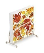 AUTUMN LEAVES ORANGE YELLOW 20 X 3 PLY PAPER NAPKINS & LATTICE NAPKIN HO... - £10.85 GBP