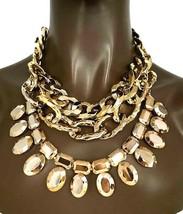 Goldener Kette Strass Mehrschichtige Multi-Strang Statement Halskette Ohrring - $30.51