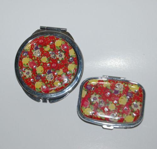Pretty Tools 5229 Red Floral Clear Rhinestones Pill Box Mirror Set