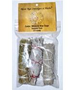 "Cedar, White & Blue Sage smudge stick 3-Pack 4"" - $12.99"