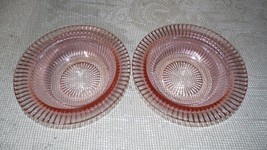 Vintage Anchor Hocking Queen Mary Pink Depression Bowls Ribbed Set Of 2 - $14.84