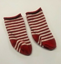 American Girl Kirsten St Lucia Red White Striped Christmas Socks Doll Clothes - $9.90