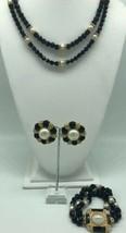 Vintage Gay Boyer Jet Necklace Bracelet Clip Earring Set Crystal Faux Pearl - $96.65