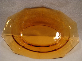 Cambridge Glass amber decagon pattern small oval glass serving dish 1920... - $15.00