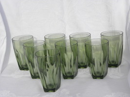 8 Vintage Mid-Century Modern Avocado Green Glass Drink Tumblers or Glasses - $19.99