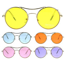 Pop Color Hippie Groovy Circle Round Lens Top Bridge Sunglasses - $12.95
