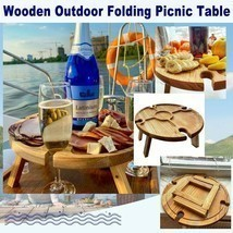 Folding picnic table In original wood with bottle holder for welcome gue... - £35.92 GBP