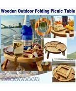 Folding picnic table In original wood with bottle holder for welcome gue... - £35.46 GBP