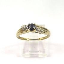 10k Yellow Gold Women's Diamond Ring With September Sapphire Birthstone - $72.93