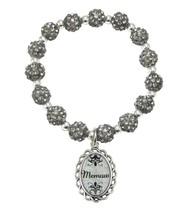 Memaw Black Diamond Gray Jeweled Beads Crystal Stretch Bracelet Jewelry Gift - $14.72