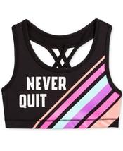 Ideology Little Girls Logo Never Quit Racer Back Sports Bras (Black, 16XL) - $15.17