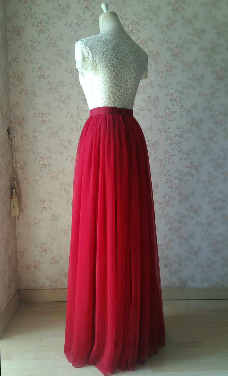 Red tulle maxi bridesmaid wedding skirt 38 750 08