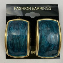 Vintage Blue Enamel Earrings Gold Tone Dangle Swirl NOS 80s 90s Rectangular - $11.84