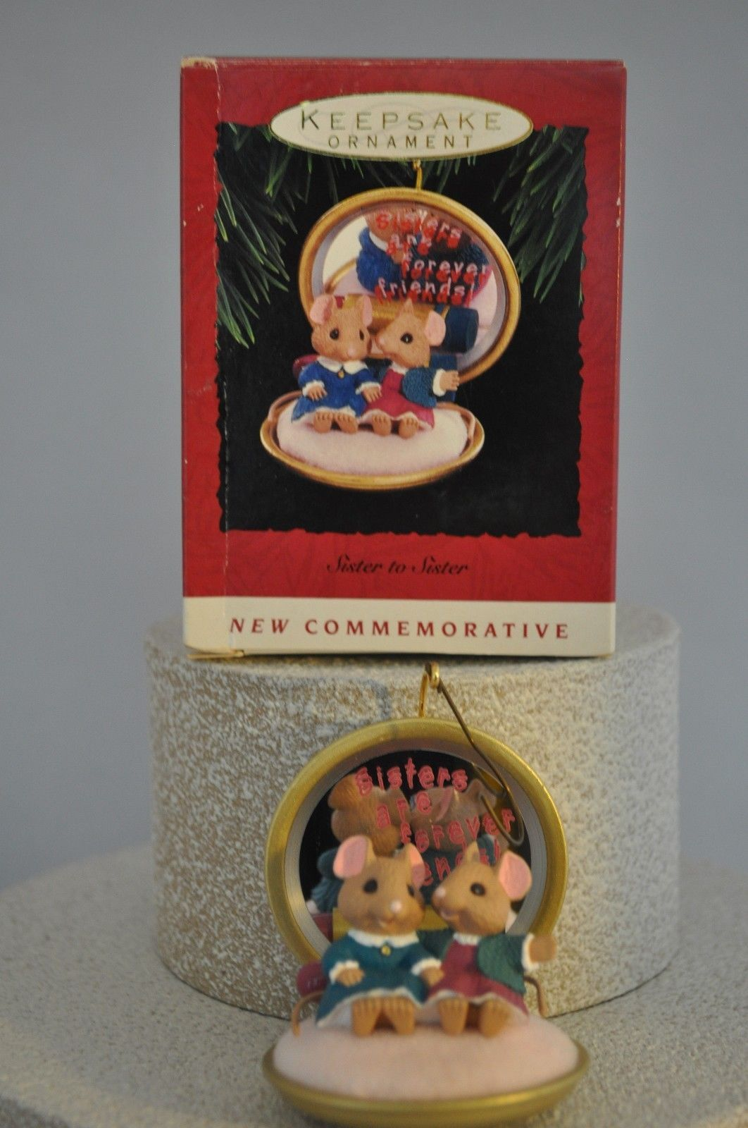 Primary image for Hallmark - Sister to Sister - 2 Sister Mice in a Compact - 1993 Classic Ornament