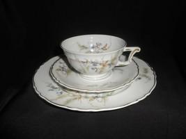 Limoges Tea Trio Purple Flowers Green Ferns Cup Saucer Plate Haviland  - $38.00