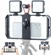 Smartphone Video Rig with Shortgun Microphone + 2 Led Light, Handheld... - $138.46