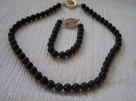 Estate Demi Black Round Glass or Stone Bead Necklace & Bracelet with 925... - $21.39