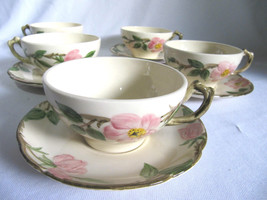 Set of 5 cups/5 saucers, Franciscan Earthenware~USA Desert Rose,Pink Flower - $55.00