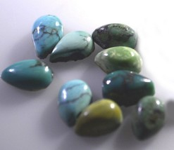 likely Turquoise cabochon Pear 13X18 mm Loose Gemstones STTURCBPR13X18 - $13.41