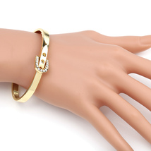UE-Designer Gold Tone Bangle Bracelet, Buckle Clasp & Swarovski Style Cr... - $17.99