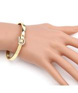 UE-Designer Gold Tone Bangle Bracelet, Buckle Clasp & Swarovski Style Cr... - $17.99