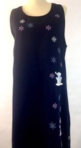 Fashion Classics Navy Blue Winter Snowman Embroidered Sleeveless Dress J... - $17.72