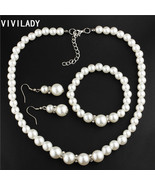 Pearl Beads Crystal Necklace Bracelet Earring Set - $20.60