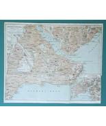 "CONSTANTINOPLE City Plan Turkey 9 x 11""  (23 x 8cm) - 1934 German Map - $33.75"