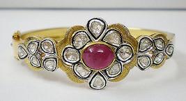 925 Sterling Silver Vintage Inspired Antique cut Diamond Polki Bracelet ... - $735.00