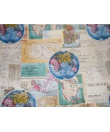 BTY David Textiles Vintage Cartography World Map 100% Cotton Quilt Fabric YARD - $10.00