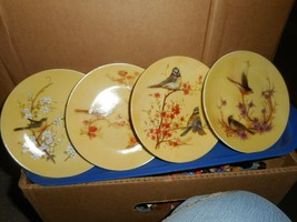 YELLOW TINT DECORATOR PLATES/HAND PAINTED PORCELAIN/BIRD THEME/HAND WASH... - $22.44