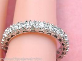 VINTAGE ANNIVERSARY .95ctw DIAMOND PLATINUM ETERNITY BAND RING 1950 size... - $1,642.41