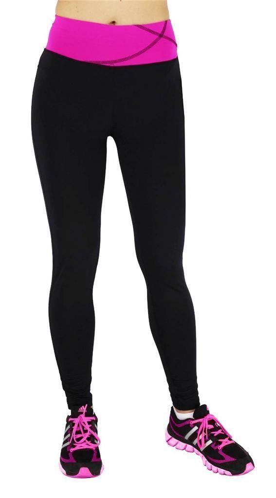 NEW W SPORT WOMEN'S ATHLETIC GYM WORKOUT LEGGINGS PANTS BLACK/MAGENTA  4813