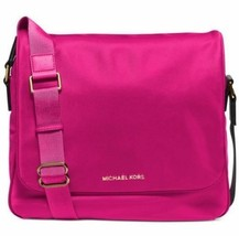 NWT Michael Kors Nylon Large Messenger - Raspberry/Gold Bag - $165.18