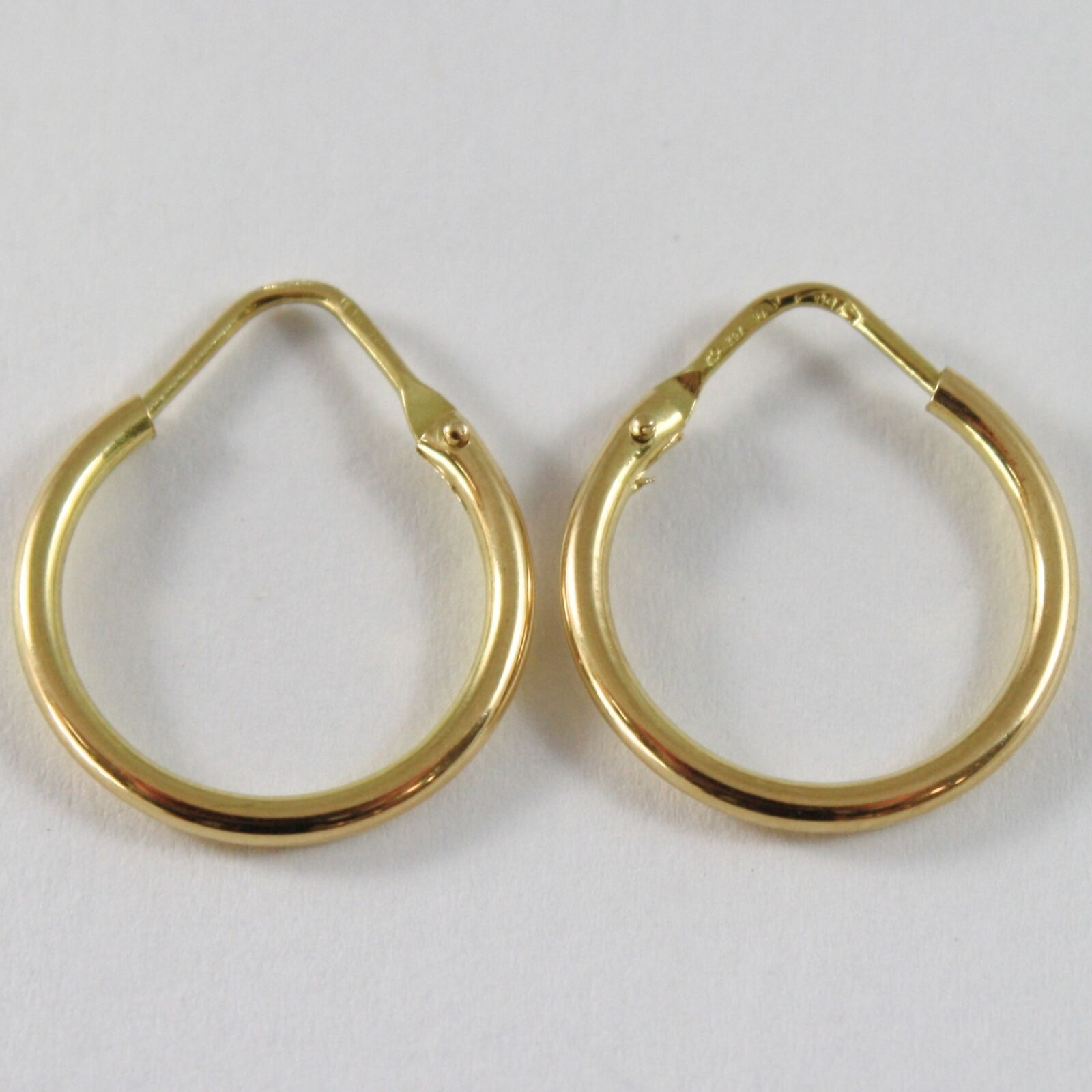 18K YELLOW GOLD ROUND CIRCLE EARRINGS DIAMETER 13 MM WIDTH 1.7 MM, MADE IN ITALY
