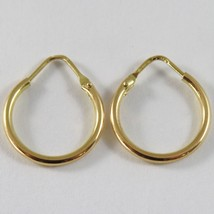 18K YELLOW GOLD ROUND CIRCLE EARRINGS DIAMETER 13 MM WIDTH 1.7 MM, MADE IN ITALY image 1