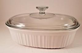 "CorningWare French White Oval Casserole Dish 11"" x 8 1/4"" 2.5 Quart with... - $18.66"