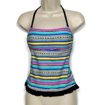 Hula Honey Ruffled Halter Tankini Swimsuit Top XS Multicolor Striped Pad... - $21.78