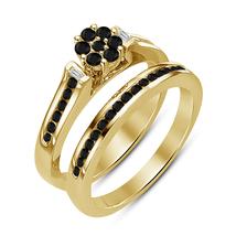 Round cut Diamond Pure 925 Silver Wedding Ring Set Engagement Band Size 5-11 - $105.63