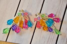 huge vintage colorful pearl bead clip earrings drop dangle cluster - $17.81