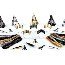 Midnight Party New Years Eve 25 Pc Assortment Kit For 10 Hats Tiaras Leis - $23.75