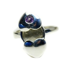 Real Purple Amethyst Silver Rings Heart Style Handmade US 4,5,6,7,8,9,10... - $25.54