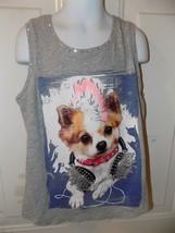 Justice Gray Rock Star Dog Tank Top Size 10 Girl's EUC - $16.91