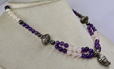 925 STERLING SILVER PENDANT AMETHYST & ROSE QUARTZ ROUND BEADS NECKLACE