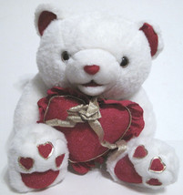 Goffa Stuffed Toy Bear White & Red with Red Heart and Gold Bow & Trim 15... - $7.63