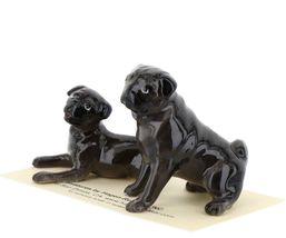 Hagen Renaker Dogs Pug Mama and Baby Black Ceramic Figurine image 4